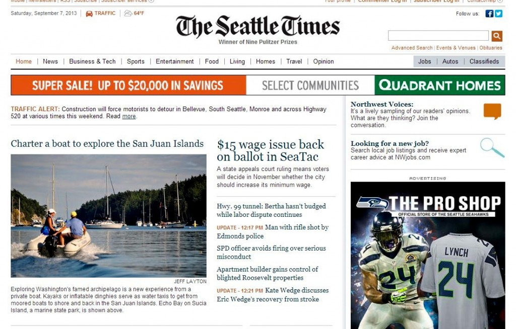 Seattle TImes Front Page Sept. 2013