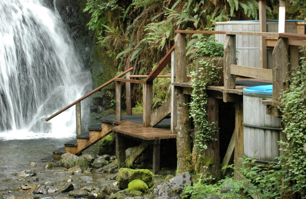 Nimmo Bay resort uses hydroelectric power directly from a waterfall on the property.  It makes a great setting for the hot tubs too.