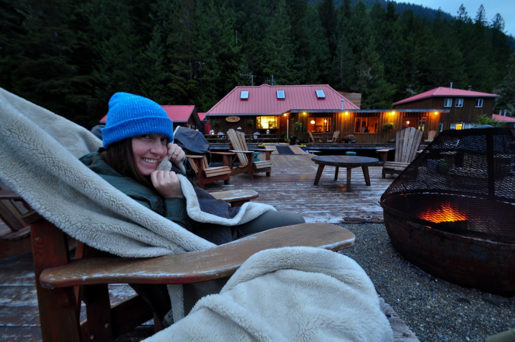 A tradition at Nimmo Bay is the warmed blanket at the dockside fire pit