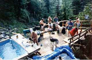 The large deck built by volunteer visitors as seen in the 1990s. Courtesy of Scenic Hot Springs