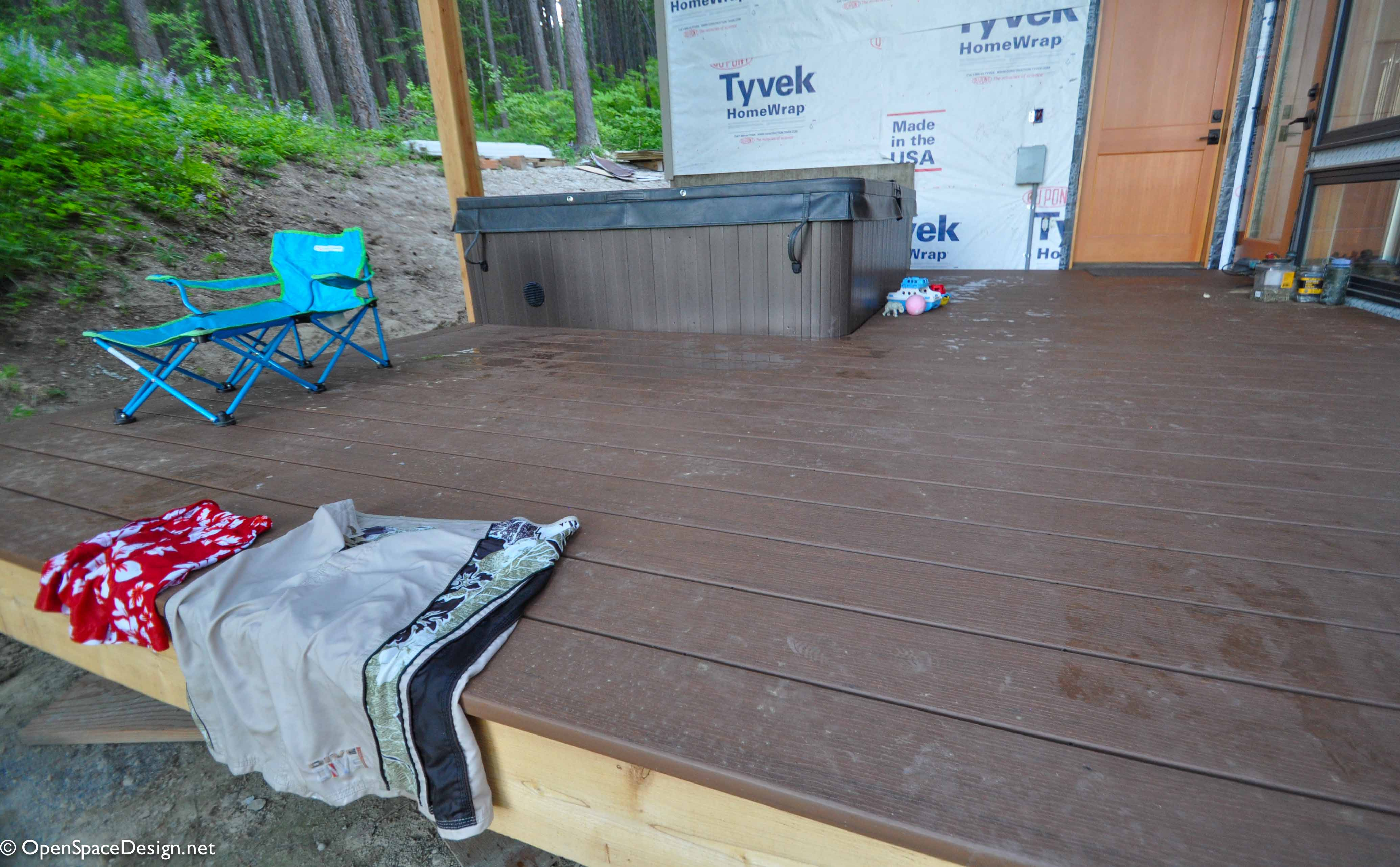 A big upside to using a composite deck material is that chlorine doesn't stain it