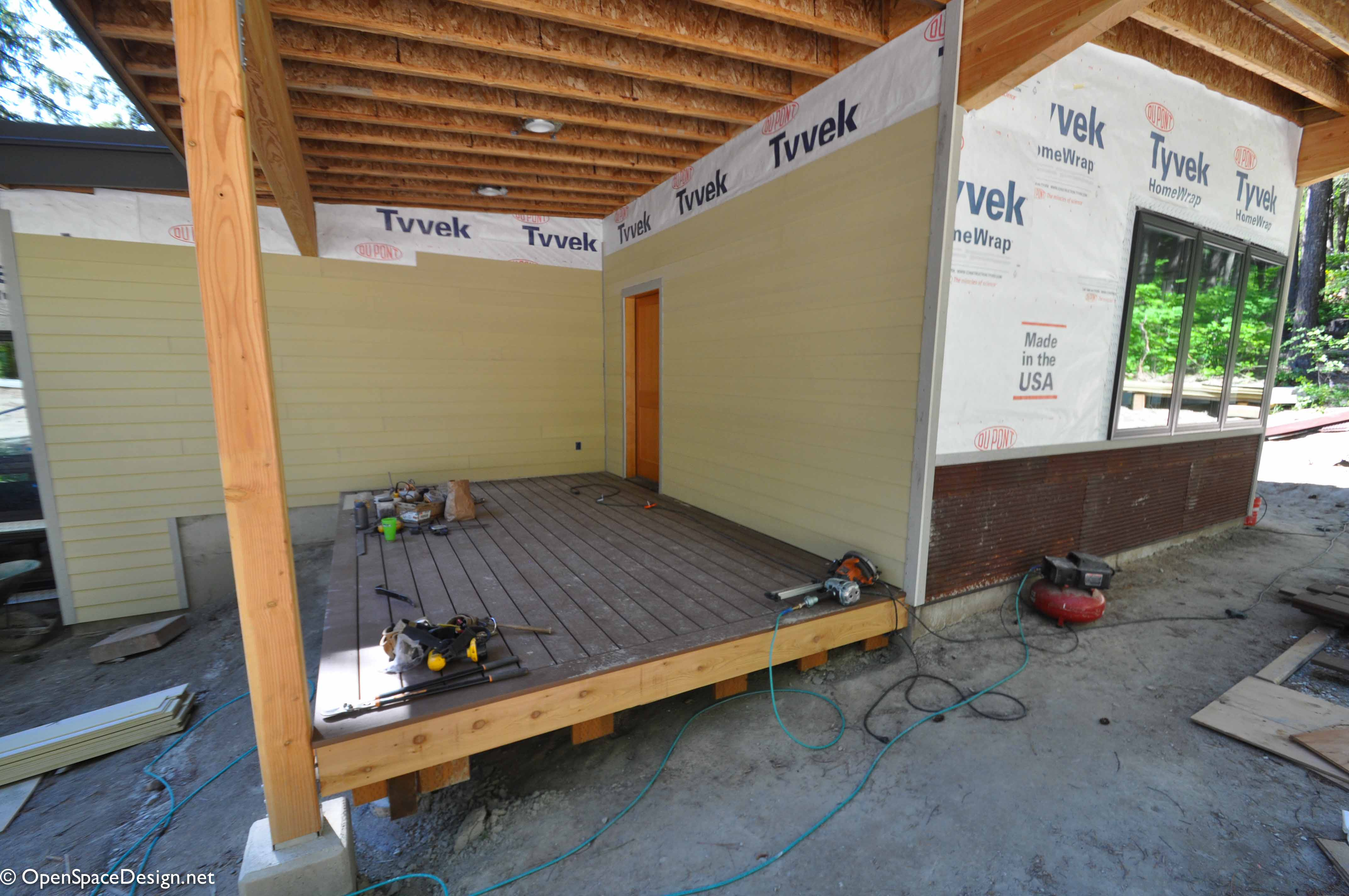 This is the entry to our guest suite, with the deck providing lots of room for skis and other toys