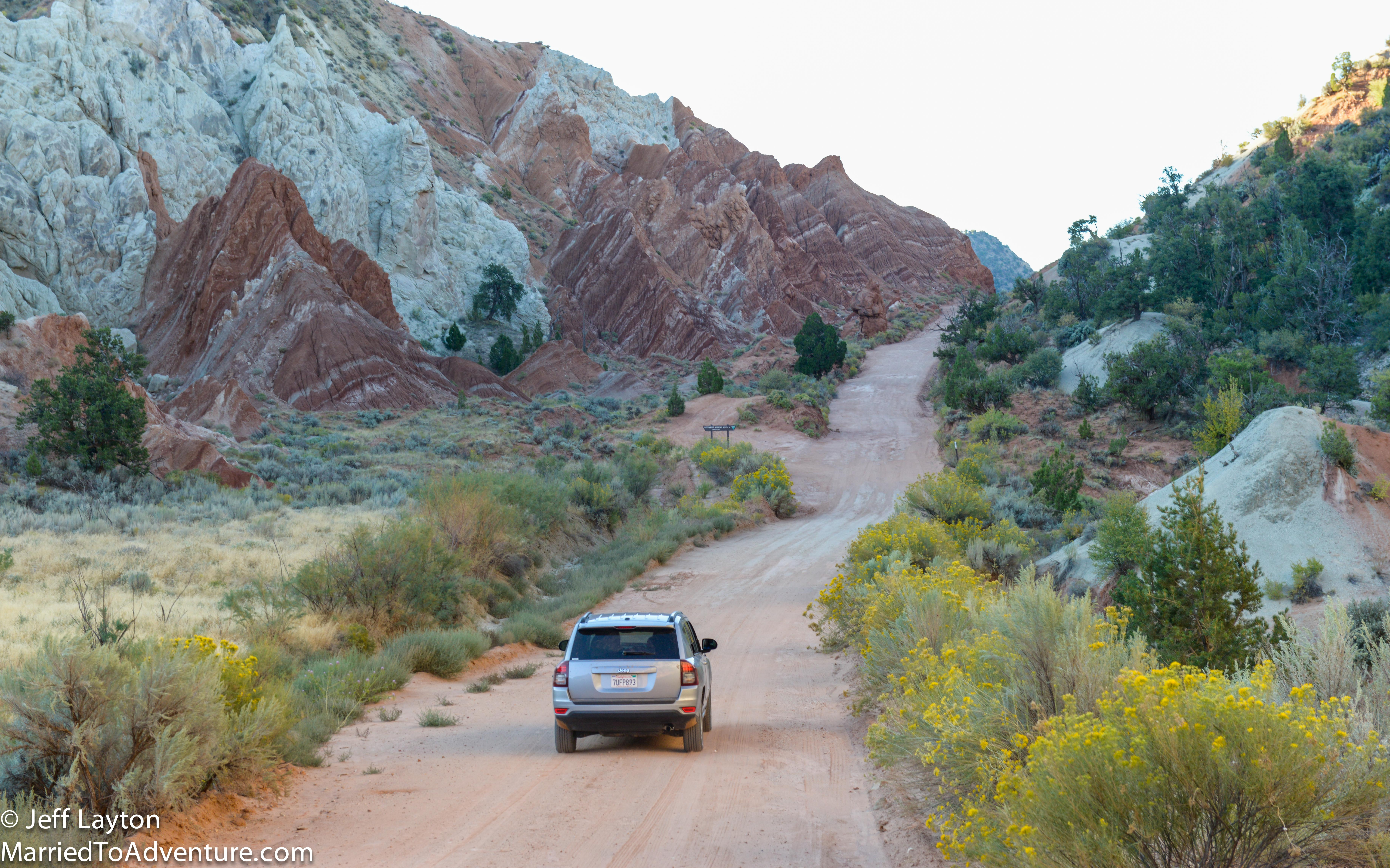 Driving the Cottonwood Canyon on the way to the Buckskin Gulch.