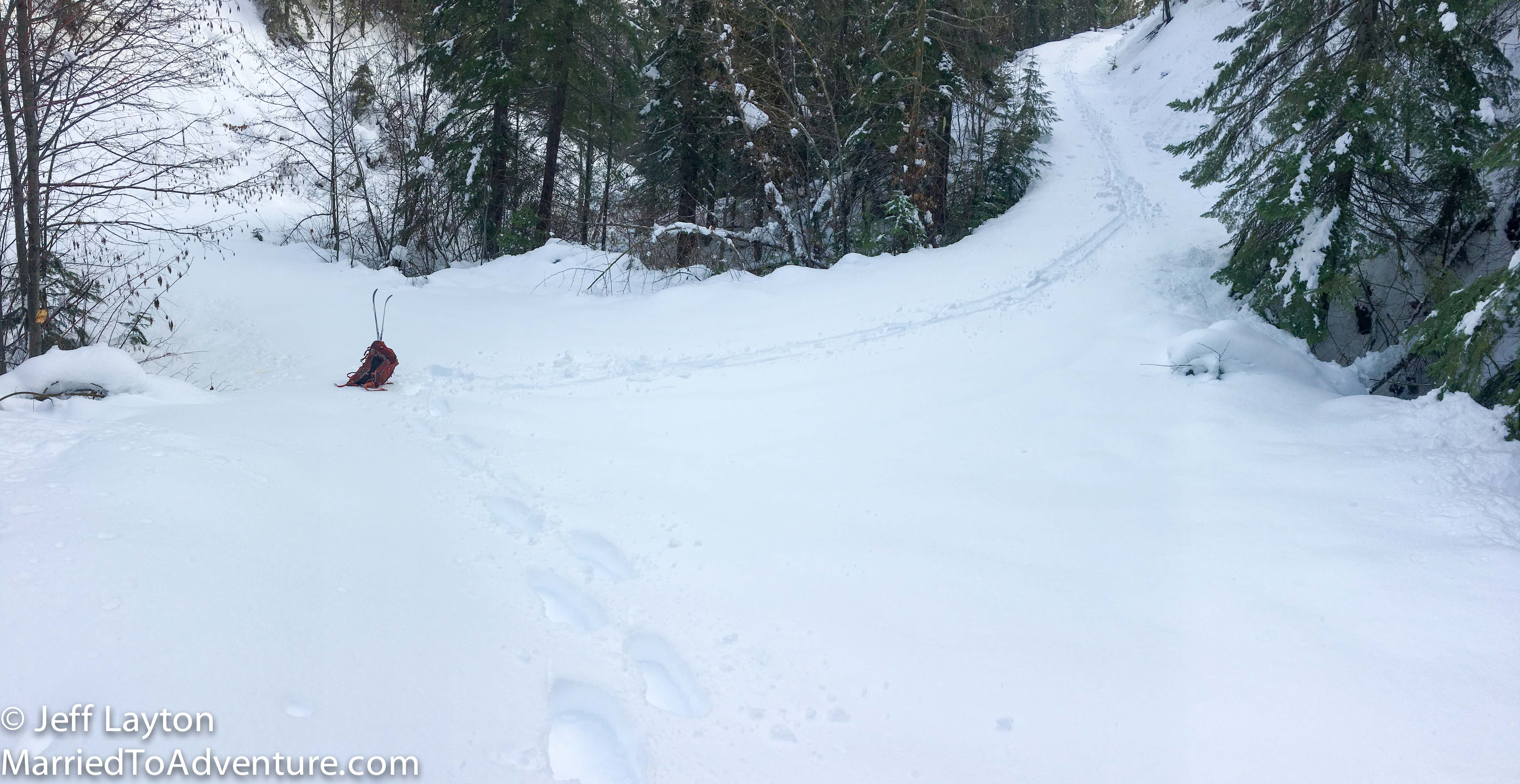 Finding unused roads to explore in a backcountry ski/snowshoe outing