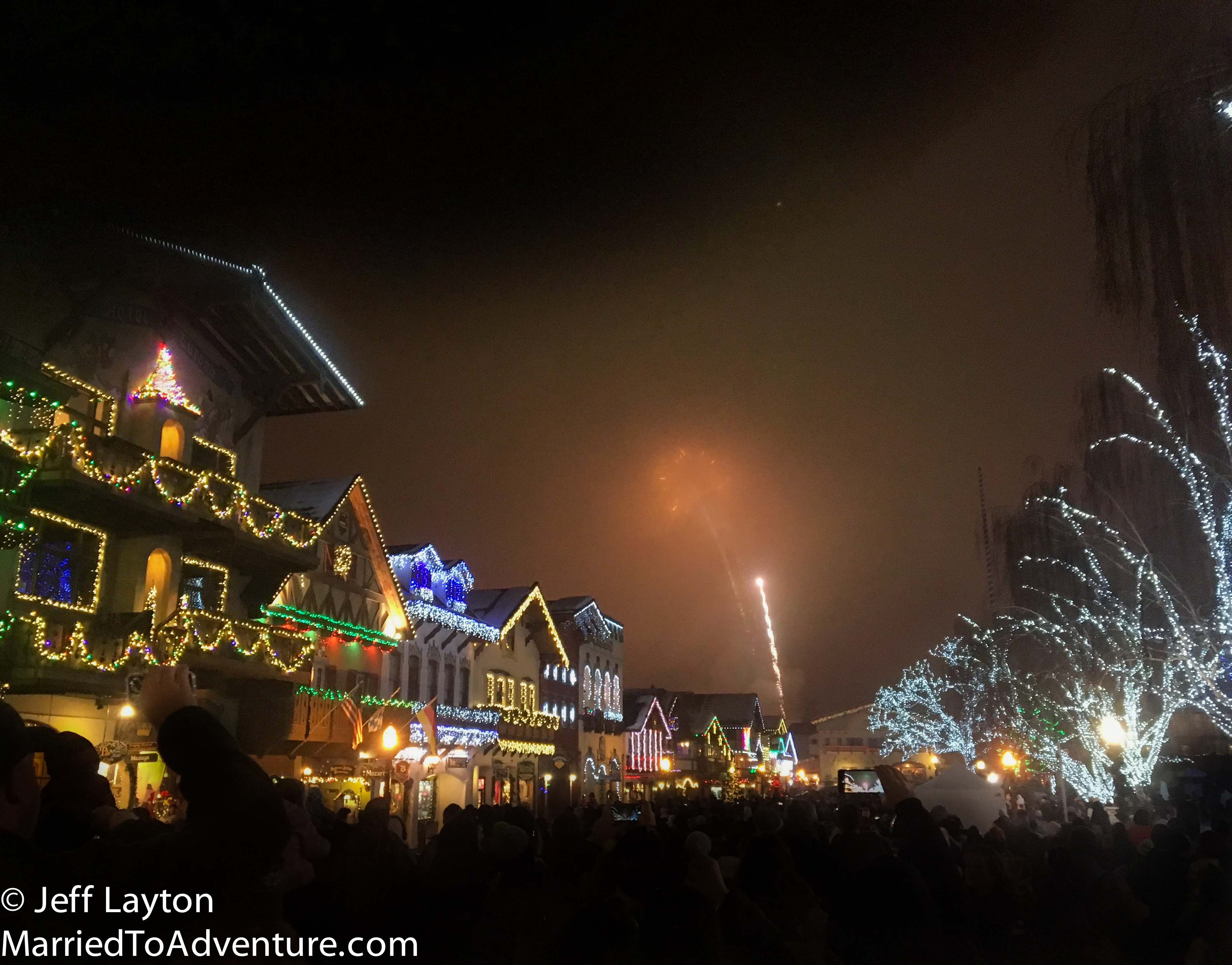 The Leavenworth Ice Festival was a foggy affair but it made for a cool fireworks display